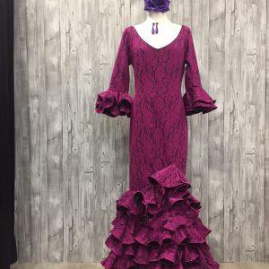 traje de flamenca de encaje elástico.