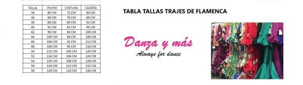 TABLA TALLAS TRAJES DE FLAMENCA
