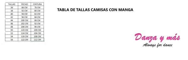 TABLA DE TALLAS CAMISA FLAMENCA CON MANGAS
