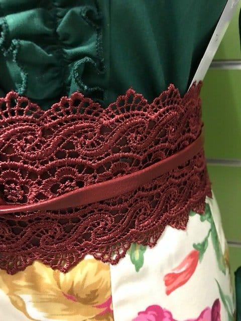 Fajin flamenca combinado de encaje y polipiel.