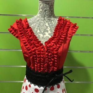 Camisa flamenca roja sin manga con bonito detalle de garrucha en su pecho espalda redonda y escote en pico y mangas ranglán
