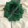 Flor flamenca mediana para el pelo fabricada en tela con dos hojas decorando y tallo para poder ponertela con horquillas.