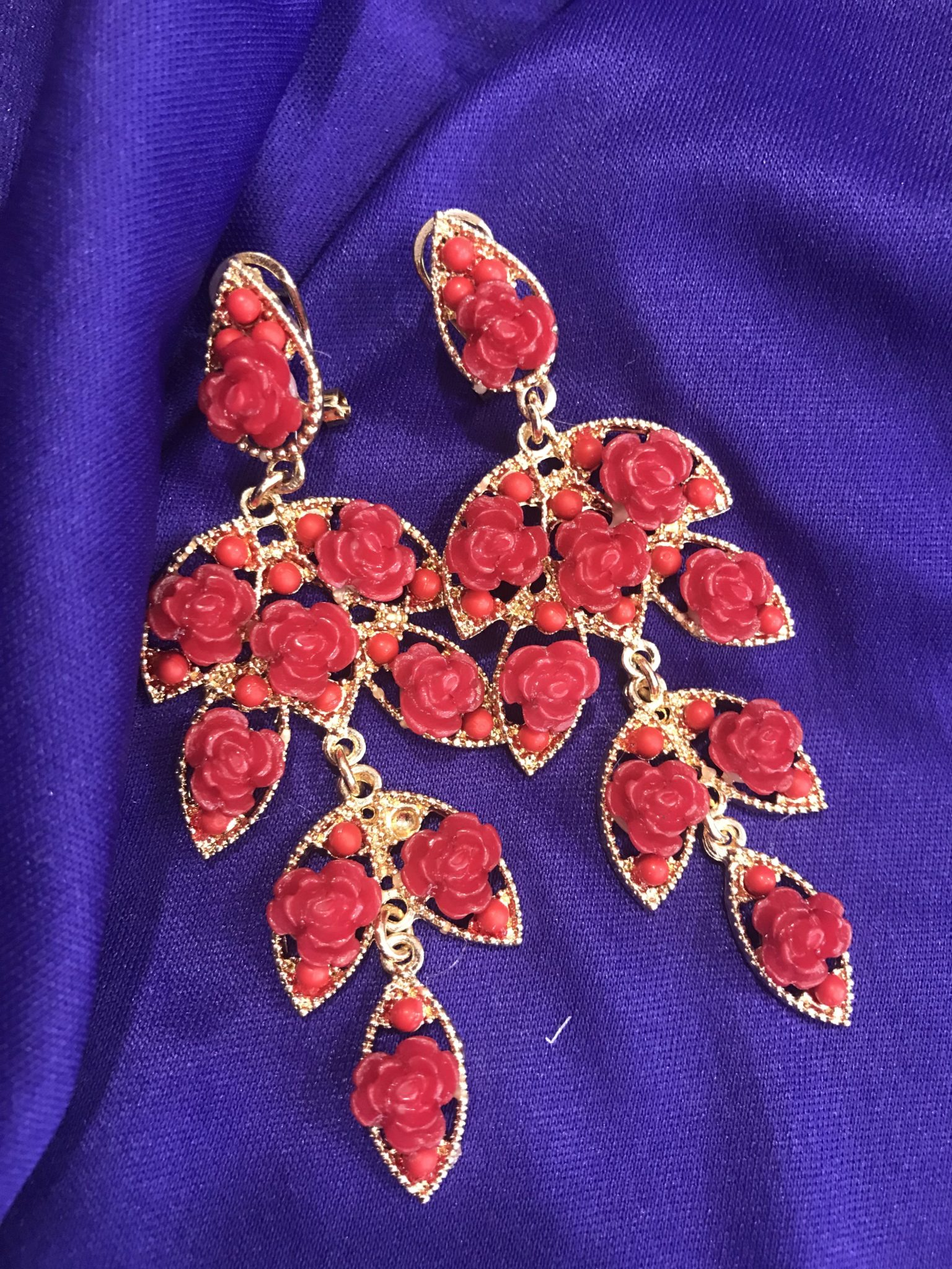 Pendientes de flamenca Racimo flores