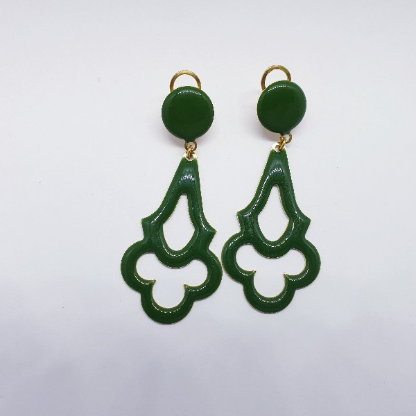 Pendientes de flamenca esmaltados verdes 995