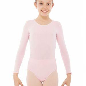 Maillot de ballet manga larga rosa