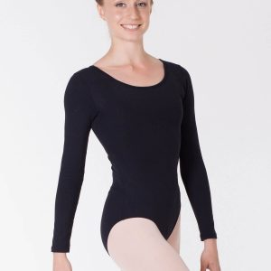 Maillot de ballet negro manga larga