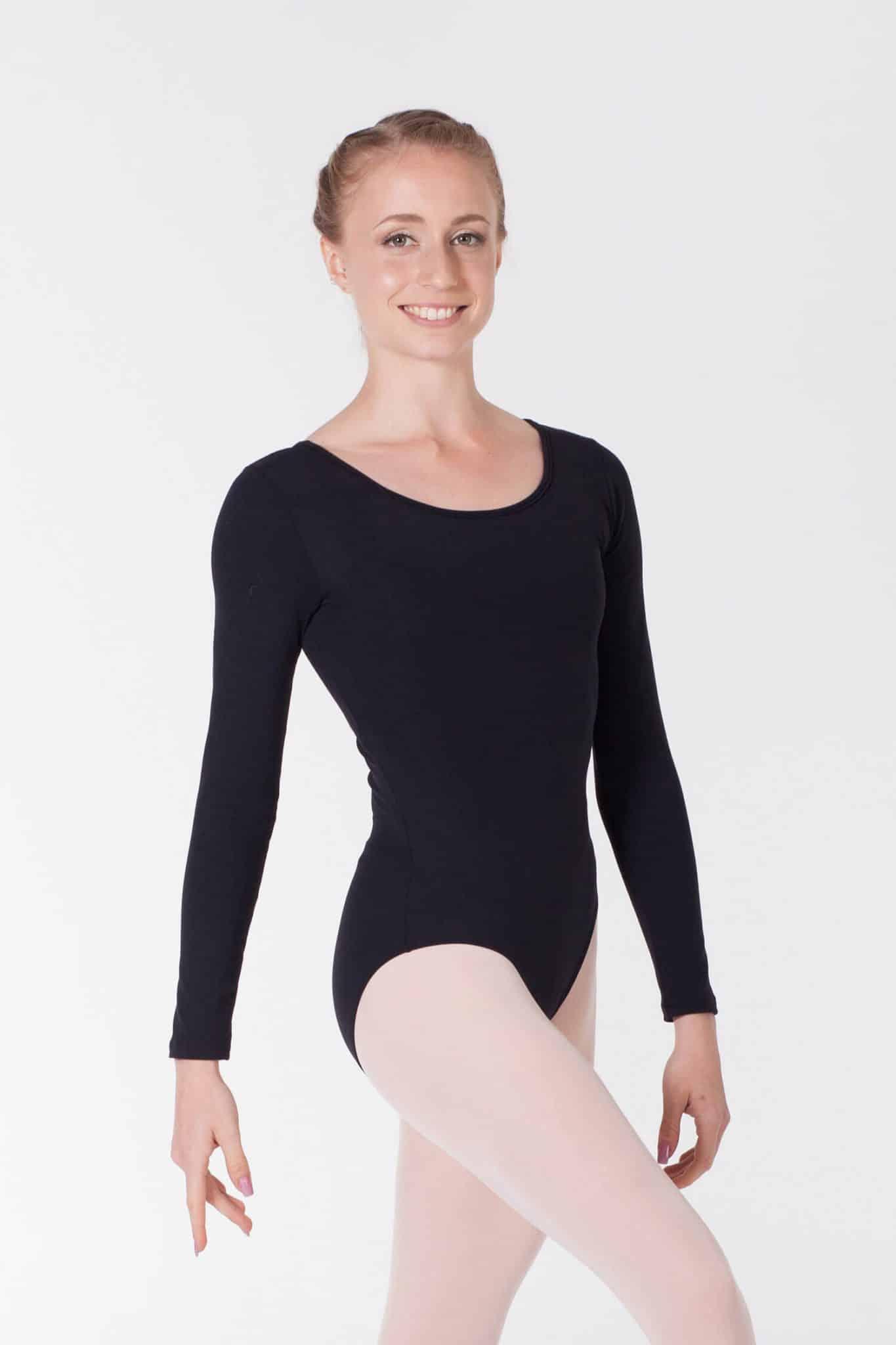 Maillot de ballet negro manga larga 3010 Ne