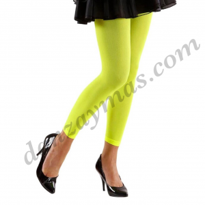 Leggin amarillo flúor para chica talla única de adulta para disfraz , carnaval o para tu comparsa