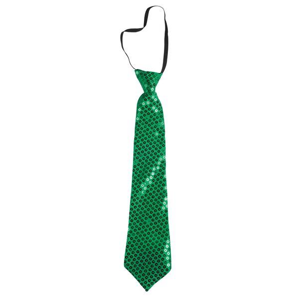 Corbata de raso con lentejuelas.