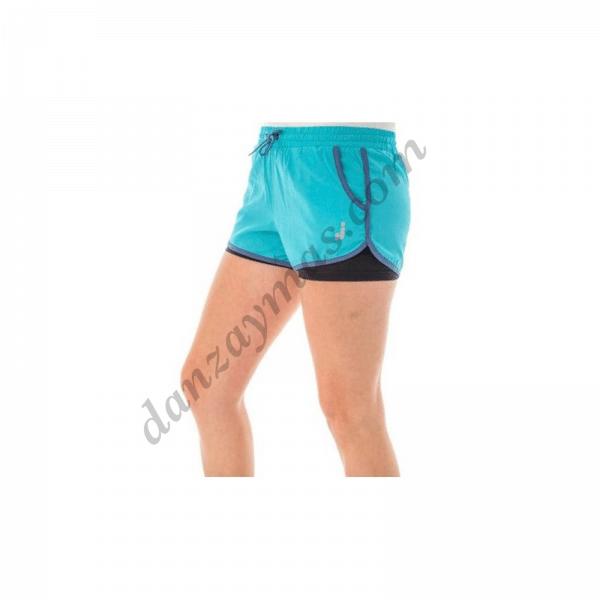 Pantalón short mujer con malla interior Joluvi confeccionado en poliéster super ligero y transpirable para correr o cuaquier actividad
