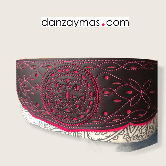 Fajín flamenco cuero marrón combinado con fucsia