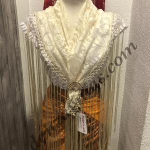 Mantoncillo flamenco adulta de encaje con flecos cosidos a mano