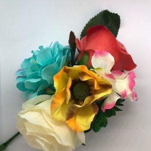 Ramillete flores flamenco con colores variados para conjuntar con tu traje flamenco