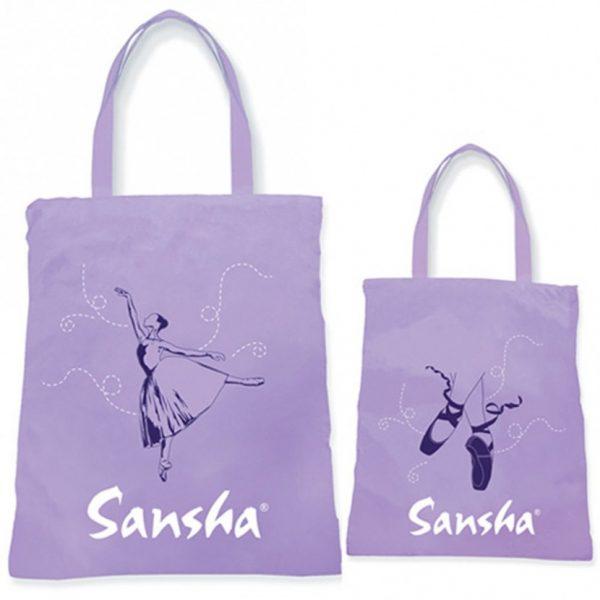 Bolsa de ballet en polyester con bonitos dibujos de bailarina y puntas de ballet