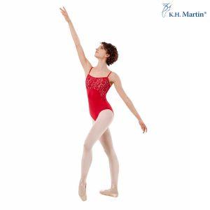Maillot danza mujer en color rubí y encaje elástico forrado, tirante fino confeccionado en licra mate