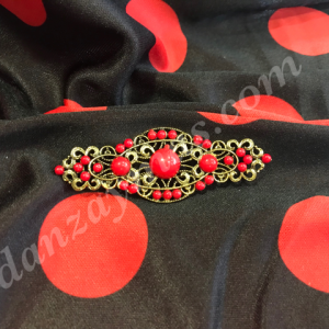 Broche para flamenca con medias perlas de colores variados fabricado en oro viejo