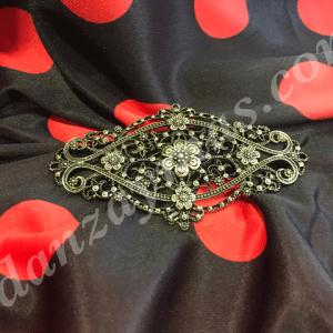 Broche para flamenca fabricado en oro viejo grande y con forma ovalada