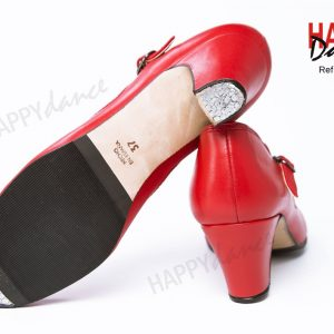 Zapatos sevillana con clavos en punta y tacón de la marca Happy dance fabricados en piel rojos