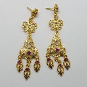 Pendientes de huertana mujer en dorados con piedras a color para combinar con tu traje regional