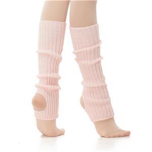Calentador de ballet para niña en color rosa de 40 cm con talón descubierto