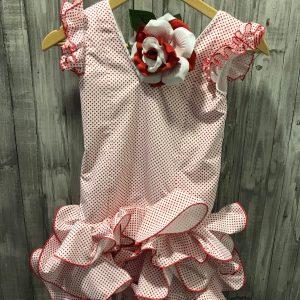Traje flamenca niña Marisol con volantes en el hombro de la misma tela