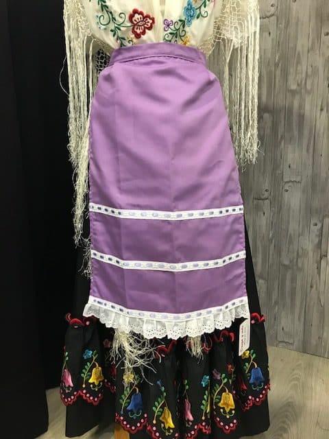 Delantal de huertana malva para mujer con pasacintas del mismo color