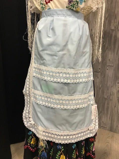 Delantal de huertana azul con puntillas anchas en dos colores exclusivo y único!!!!