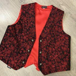 Chaleco de huertano rojo brocado con espalda en raso y cinturón con trabilla para ajustarlo