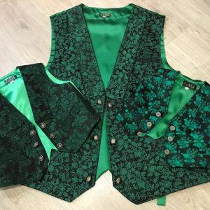 Chaleco brocado verde de huertano con espalda en raso del mismo color