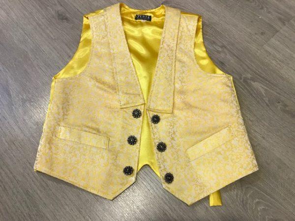 Chaleco de huertano amarillo en tela brocada y espalda de raso con cinturón para adaptar con trabilla