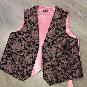 Chaleco de huertano rosa/negro brocado combinado a la perfección