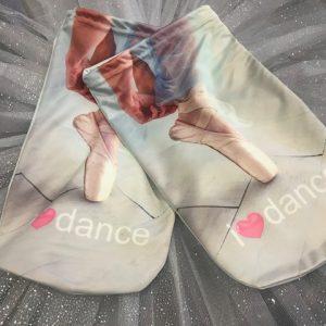 Bolsa ballet para zapatillas de ballet o para tu merienda con preciosas imágenes de zapatillas de ballet