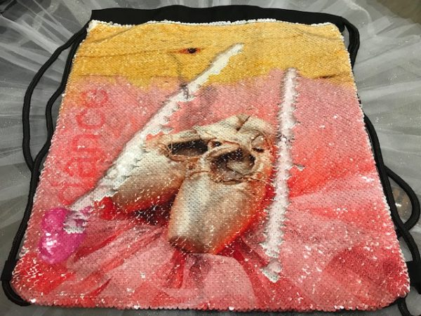 Mochila de ballet con lentejuelas a dos imagenes para que sean diferentes