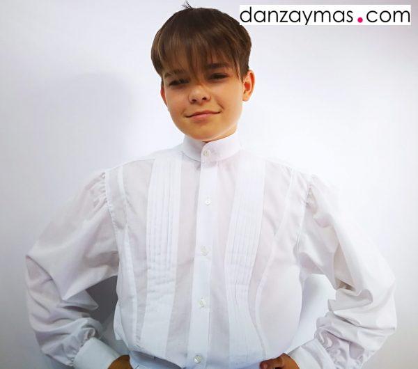 Camisas de huertano en algodón blanco y tablas en el pecho