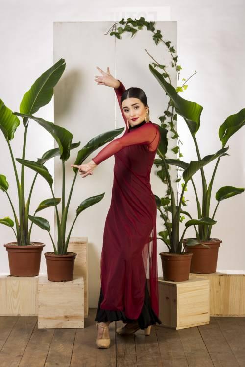 Vesido flamenco tul elástico de manga larga para colocartelo encima de tus atuendos flamencos