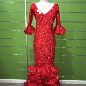Traje de flamenca rojo con lunar blanco tamaño lenteja de la talla 38
