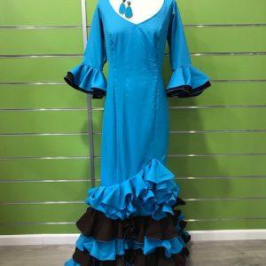 Traje de flamenca turquesa talla 46 con volantes combinados en marrón chocolate