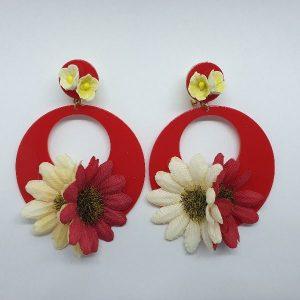 Pendientes de flamenca flor con forma de aros preciosos!!!!