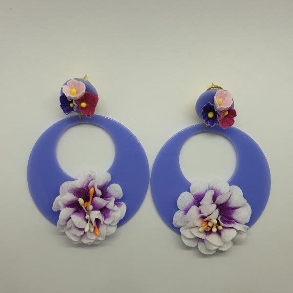Aros de flamenca lilas con flor 980