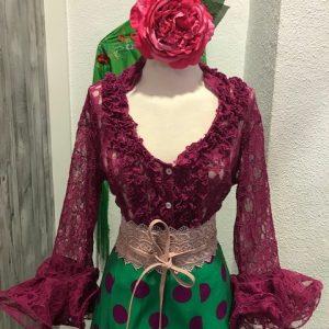 Camisa flamenca encaje elástico en color buganvilla con manga al codo