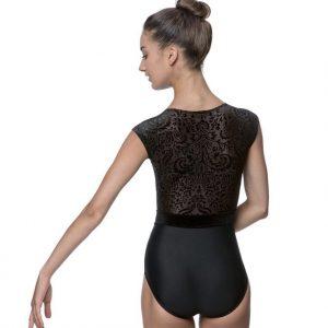Maillot terciopelo para danza en color negro con tul transparente en toda su espalda