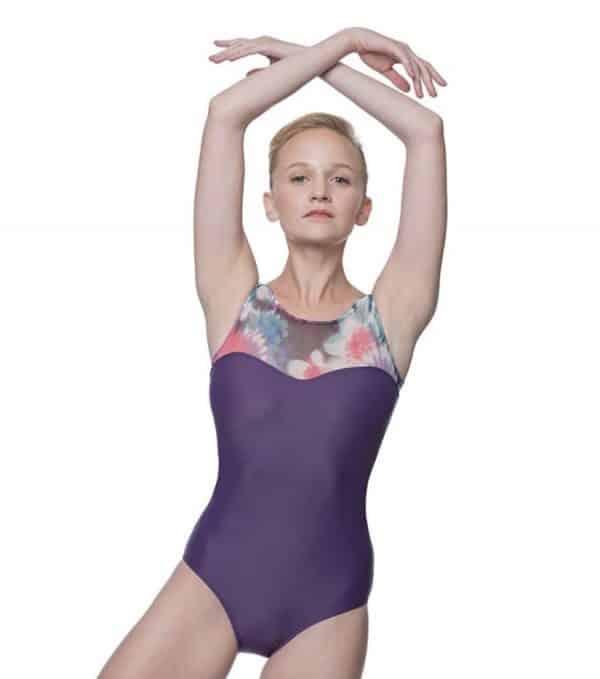 Maillot ballet morado con estampado animal de la marca LULLI DANCEWEAR