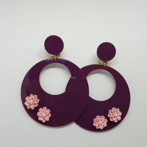 Aros de flamenca con florecillas de resina para tu traje de flamenca