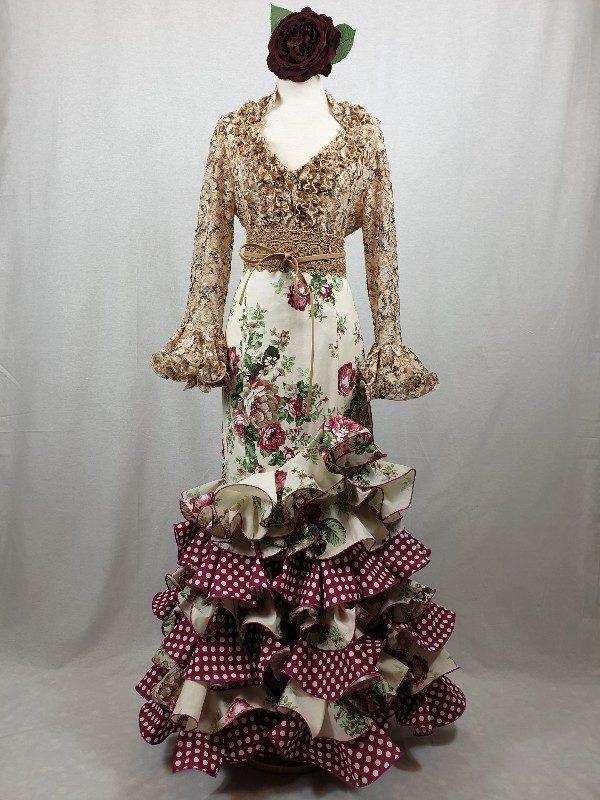 Camisa flamenca estampada elástica en tonos tierra preciosa