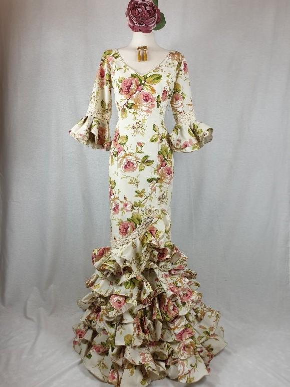 Vestido flamenca Candela talla 40 beige con flores rosas y verdes