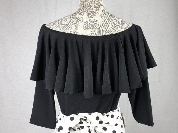 Cuerpo flamenco con volante y mangas al codo en color negro