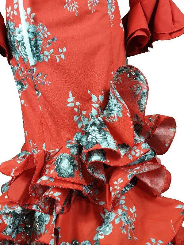 Falda de flamenca en roja con volantes y talle alto