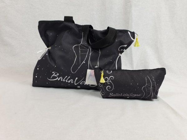 Bolsa de ballet negra de tela con bonitos motivos de zapatillas de ballet