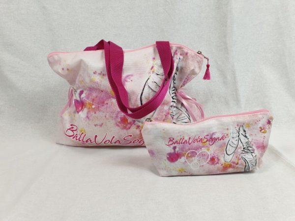 Bolsa de ballet rosa con asa y dibujo de ballet