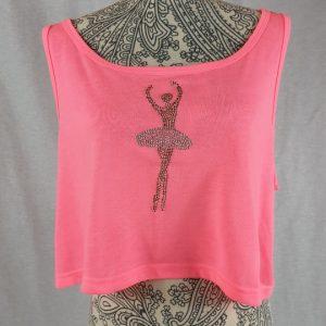 Camiseta bailarina fucsia corta con tirante ancho